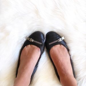 Chloe Black Ballet Flats with Zippers